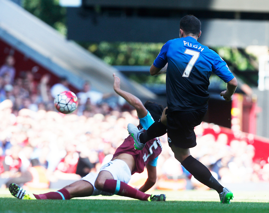 Bournemouth's Artur BorucBournemouth's Marc Pugh scores his sides third goal <br /> <br /> Photographer Kieran Galvin/CameraSport<br /> <br /> Football - Barclays Premiership - West Ham United v Bournemouth - Saturday 22nd August 2015 - Boleyn Ground - London<br /> <br /> <br /> &copy; CameraSport - 43 Linden Ave. Countesthorpe. Leicester. England. LE8 5PG - Tel: +44 (0) 116 277 4147 - admin@camerasport.com - www.camerasport.com