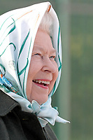 05/02/2020 - Queen Elizabeth II overlooks the dyke during her visit to Wolferton Pumping Station in Norfolk, where she officially opened the new station. Photo Credit: ALPR/AdMedia