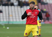 Fleetwood Town's Ched Evans during the pre-match warm-up <br /> <br /> Photographer David Shipman/CameraSport<br /> <br /> The EFL Sky Bet League One - Bradford City v Fleetwood Town - Saturday 9th February 2019 - Valley Parade - Bradford<br /> <br /> World Copyright &copy; 2019 CameraSport. All rights reserved. 43 Linden Ave. Countesthorpe. Leicester. England. LE8 5PG - Tel: +44 (0) 116 277 4147 - admin@camerasport.com - www.camerasport.com