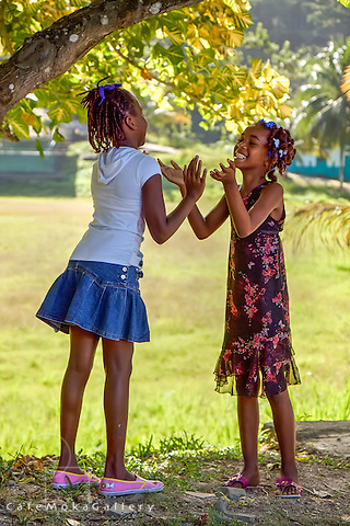 Caribbean girls playing a clapping game