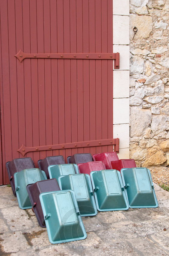 Harvesting baskets. Chateau Nairac, Barsac, Sauternes, Bordeaux, France