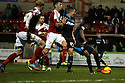 Lucas Akins of Stevenage shoots at goal but his effort is saved<br />  - Swindon Town v Stevenage - Johnstone's Paint Trophy - Southern Section Semi-final  - County Ground, Swindon - 10th December, 2013<br />  © Kevin Coleman 2013