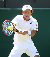 Yoshihito Nishioka (JPN) in action against Marin Cilic (CRO) in their first round match<br /> <br /> Photographer Rob Newell/CameraSport<br /> <br /> Wimbledon Lawn Tennis Championships - Day 1 - Monday 2nd July 2018 -  All England Lawn Tennis and Croquet Club - Wimbledon - London - England<br /> <br /> World Copyright &not;&copy; 2017 CameraSport. All rights reserved. 43 Linden Ave. Countesthorpe. Leicester. England. LE8 5PG - Tel: +44 (0) 116 277 4147 - admin@camerasport.com - www.camerasport.com