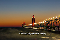 64795-01308 Grand Haven South Pier Lighthouse at sunset on Lake Michigan, Ottawa County, Grand Haven, MI