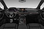 Stock photo of straight dashboard view of a 2018 Audi SQ5 Base 5 Door SUV