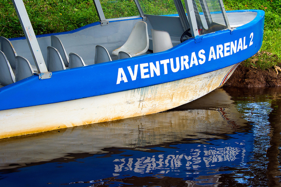 Typical Boat in Frio River in the Caño Negro Wildlife Refuge in Costa Rica.