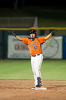 AZL Giants first baseman Nathanael Javier (47) celebrates after a hitting a double during Game Three of the Arizona League Championship Series against the AZL Cubs on September 7, 2017 at Scottsdale Stadium in Scottsdale, Arizona. AZL Cubs defeated the AZL Giants 13-3 to win the series two games to one. (Zachary Lucy/Four Seam Images)