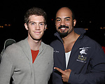 "Alistair Brammer and Nicholas Christopher during The Opening Night Actors' Equity Gypsy Robe Ceremony honoring Catherine Ricafort for the New Broadway Production of  ""Miss Saigon""  at the Broadway Theatre on March 23, 2017 in New York City"