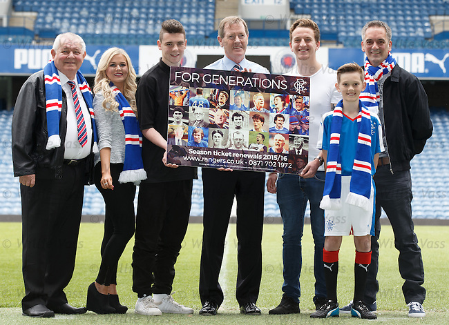 Rangers Chairman Dave King at Ibrox today with player Tom Walsh and supporters urging fans to buy season trickets to aid the rebuilding of Rangers <br /> Willie McNeils, Gail McCarthy, Craig Wallis, Dave King, Tom Walsh, Euan Watson and Bobby Watson