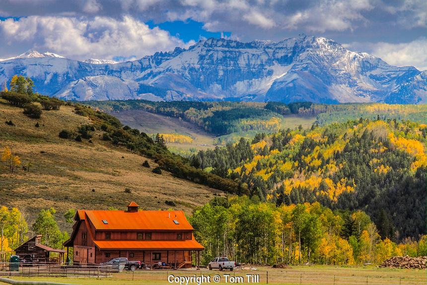 Barn and San Juan Mountains, Colorado