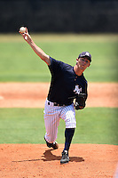 GCL Yankees 1 pitcher Dayton Dawe (40) delivers a pitch during the first game of a doubleheader against the GCL Braves on July 1, 2014 at the Yankees Minor League Complex in Tampa, Florida.  GCL Yankees 1 defeated the GCL Braves 7-1.  (Mike Janes/Four Seam Images)