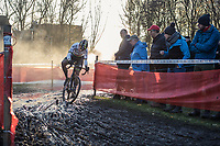cornering World Champion Wout van Aert (BEL/Crelan Charles) <br /> <br /> men's elite race<br /> Flandriencross Hamme / Belgium 2017