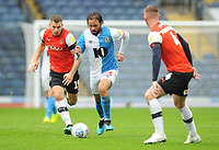 Blackburn Rovers' Bradley Dack under pressure from Luton Town's James Collins<br /> <br /> Photographer Kevin Barnes/CameraSport<br /> <br /> The EFL Sky Bet Championship - Blackburn Rovers v Luton Town - Saturday 28th September 2019 - Ewood Park - Blackburn<br /> <br /> World Copyright © 2019 CameraSport. All rights reserved. 43 Linden Ave. Countesthorpe. Leicester. England. LE8 5PG - Tel: +44 (0) 116 277 4147 - admin@camerasport.com - www.camerasport.com
