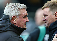 9th November 2019; St James Park, Newcastle, Tyne and Wear, England; English Premier League Football, Newcastle United versus AFC Bournemouth; Steve Bruce Manager of Newcastle United greets Eddie Howe Manager of AFC Bournemouth - Strictly Editorial Use Only. No use with unauthorized audio, video, data, fixture lists, club/league logos or 'live' services. Online in-match use limited to 120 images, no video emulation. No use in betting, games or single club/league/player publications