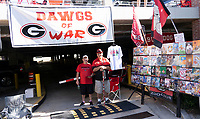 ATHENS, GA - SEPTEMBER 21: Georgia fans prepare prior to the game between the Georgia Bulldogs and the Notre Dame Fighting Irish during a game between Notre Dame Fighting Irish and University of Georgia Bulldogs at Sanford Stadium on September 21, 2019 in Athens, Georgia.
