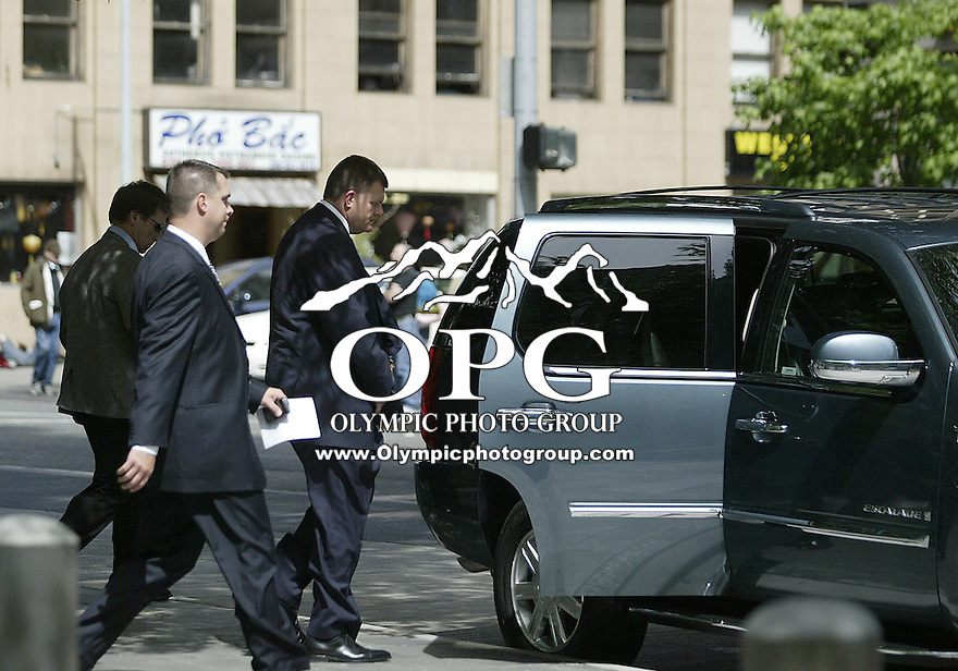 June 26, 2008:  Seattle Supersonics owner Clay Bennett gets escorted out to a Cadillac Escalade as soon as the five day trial wrapped on on Thursday.  Judge Pechman will be giving her decision on Wednesday July 2nd at the US District Court House in Seattle, WA.