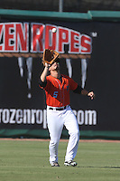 Mark Shannon (5) of the Inland Empire 66ers catches a fly ball during a game against the Stockton Ports at The Hanger on April 11, 2015 in Lancaster, California. San Jose defeated Lancaster, 8-3. (Larry Goren/Four Seam Images)