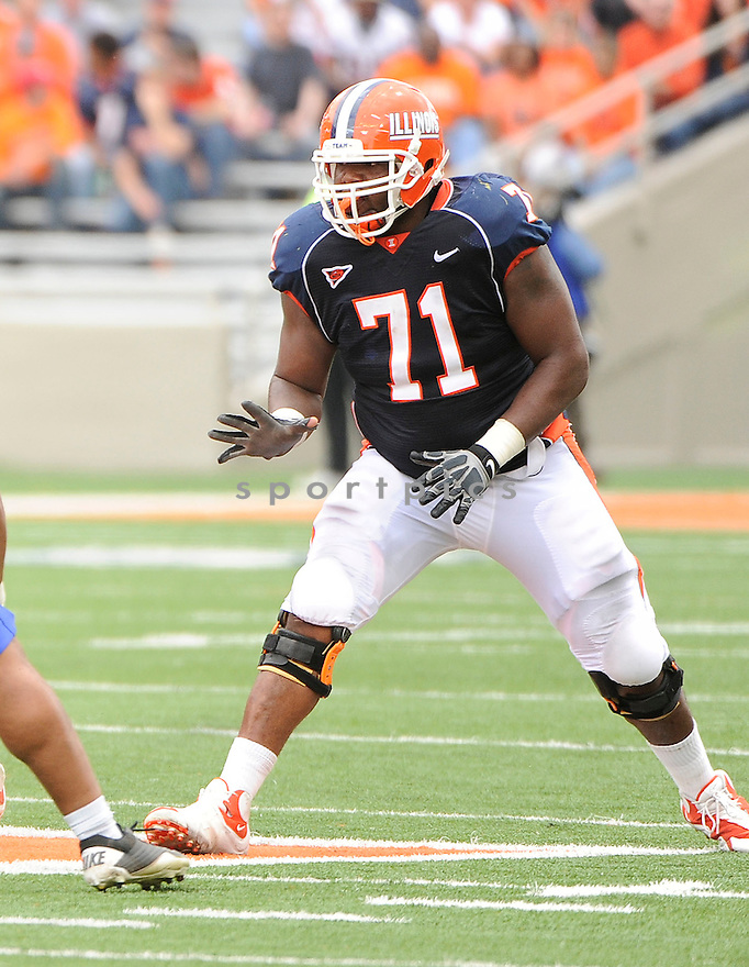 JEFF ALLEN, of Illinois, in action during Illinois game against South Dakota State on September 10, 2011 at Memorial Stadium in Champaign, IL. Illinois beat South Dakota 56-3.