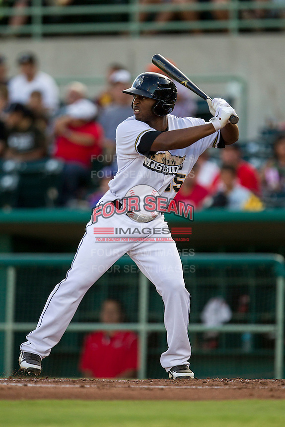 San Antonio Missions outfielder Everett Williams (45) at bat in the Texas League baseball game against the Frisco Roughriders on August 22, 2013 at the Nelson Wolff Stadium in San Antonio, Texas. Frisco defeated San Antonio 2-1. (Andrew Woolley/Four Seam Images)