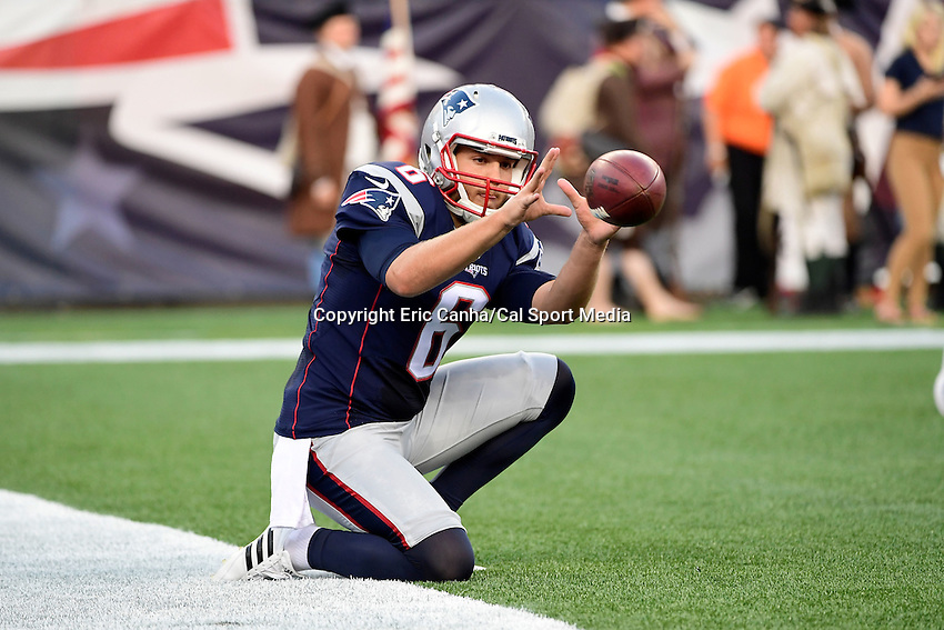 Thursday August 11, 2016: New England Patriots punter Ryan Allen (6) prepares for an NFL pre-season game between the New Orleans Saints and the New England Patriots held at Gillette Stadium in Foxborough Massachusetts. The Patriots defeat the Saints 34-22 in regulation time. Eric Canha/CSM