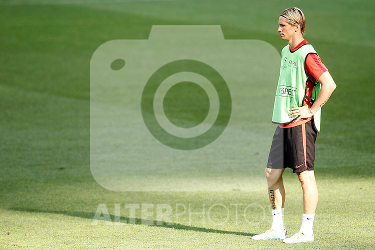 Atletico de Madrid's Fernando Torres during Champions League 2015/2016 training session. May 27,2016. (ALTERPHOTOS/Acero)