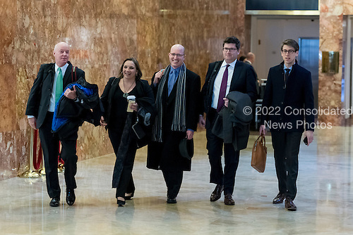 Representatives of the White House Correspondents Association are seen upon their arrival for a meeting with Sean Spicer Trump Tower in New York, NY, USA on January 5, 2017.  From left to right: Doug Mills of the New York Times; Margaret Talev of Bloomberg; WHCA President Jeff Mason of Reuters, Olivier Knox of Yahoo, and TV pool chair Jonathan Greenberger.  Mason noted in his statement earlier today, that this is the association's first in-person meeting with Spicer and the communications team since he was designated the next White House Press Secretary.<br /> Credit: Albin Lohr-Jones / Pool via CNP