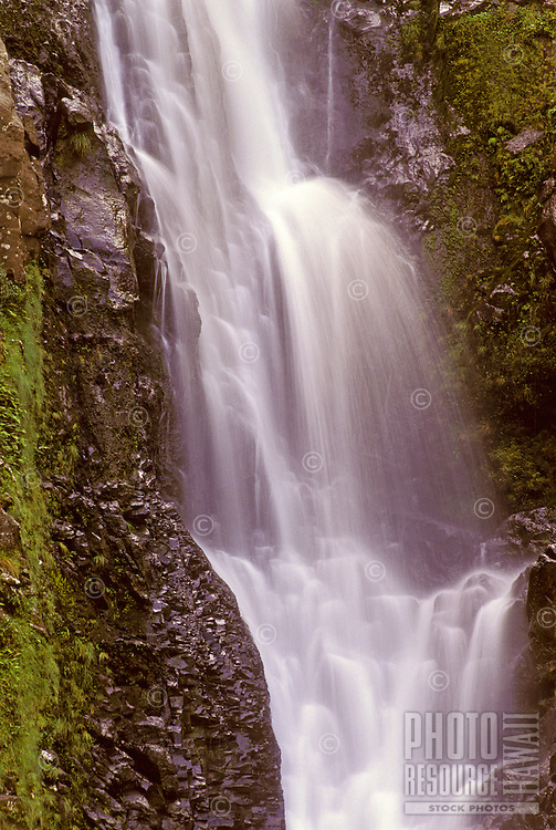 Gorgeous cascading waters of Halawa Falls in historic Halawa Valley on Molokai's east side.