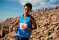August 19, 2017 - Colorado Springs, Colorado, U.S. -  Japan's, Touru Miyahara, nears the summit on his way to a second place finish in the 62nd running of the Pikes Peak Ascent.  The Ascent is a full half-marathon gaining over 7800 feet in elevation to reach the summit at 14,115 feet.  Mountain runners from around the world converge on Pikes Peak for two days of racing on America's Mountain in Colorado Springs, Colorado.
