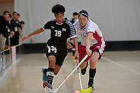 Thailand&rsquo;s Pichawee Yoola and Japan&rsquo;s Kaede Hiashi in action during the World Floorball Championships 2017 Qualification for Asia Oceania Region - Japan v Thailand at ASB Sports Centre , Wellington, New Zealand on Saturday 4 February 2017.<br /> Photo by Masanori Udagawa<br /> www.photowellington.photoshelter.com.