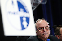 FTQ president Michel Arsenault listens during a speech at the  Steelworkers' convention at the Chateau Frontenac in Quebec City November 19, 2010. November 19, 2010.
