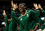 01 APRIL 2012:  Sune Agbuke (22) of Baylor University reacts to a basket against Stanford University during the Division I Women's Final Four semifinals at the Pepsi Center in Denver, CO.  Baylor defeated Stanford 59-47 to advance to the championship final.  Jamie Schwaberow/NCAA Photos