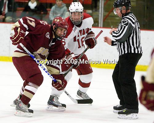 Brian Gibbons (BC - 17), Alex Fallstrom (Harvard - 16) - The Boston College Eagles defeated the Harvard University Crimson 3-2 on Wednesday, December 9, 2009, at Bright Hockey Center in Cambridge, Massachusetts.