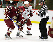 Brian Gibbons (BC - 17), Alex Fallstrom (Harvard - 16) - The Boston College Eagles defeated the Harvard University Crimson 3-2 on Wednesday, December 9, 2009, at Bright Hockey Center in Cambridge, Massachusetts.