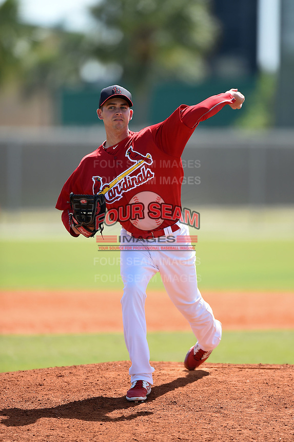 St. Louis Cardinals pitcher Tyler Melling (19) during a minor league spring training game against the New York Mets on April 1, 2015 at the Roger Dean Complex in Jupiter, Florida.  (Mike Janes/Four Seam Images)