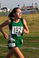 Ste. Genevieve's Shelby Werner runs downhill on her way to a fifth place finish in the Class 3 Girls race at the State Cross Country Championships in Jefferson City, Saturday, November 3.