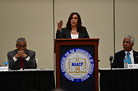 Baltimore, MD - July 24, 2017: U.S. Senator Kamala Harris speaks at the Federal Policy Legislative Workshop during the 108th Convention of the NAACP in Baltimore, MD, July 24, 2017  (Photo by Don Baxter/Media Images International)