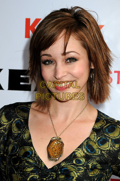AUTUMN REESER .The 2nd Annual Streamy Awards held at the Orpheum Theatre, Los Angeles, California, USA, 11th April 2010 .portrait headshot gold necklace make-up fringe  green print peacock feather .CAP/ADM/BP.©Byron Purvis/AdMedia/Capital Pictures.