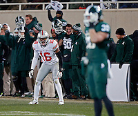 Ohio State Buckeyes defensive back Cam Burrows (16) against Michigan State Spartans at Spartan Stadium in East Lansing, Michigan on November 8, 2014.  (Dispatch photo by Kyle Robertson)