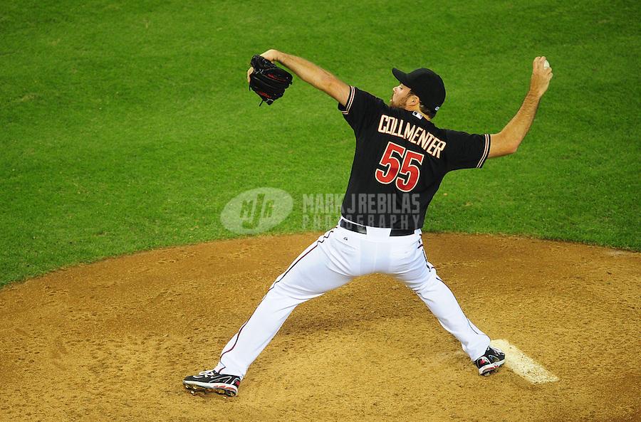May 13, 2012; Phoenix, AZ, USA; Arizona Diamondbacks pitcher Josh Collmenter throws against the San Francisco Giants at Chase Field. Mandatory Credit: Mark J. Rebilas-.