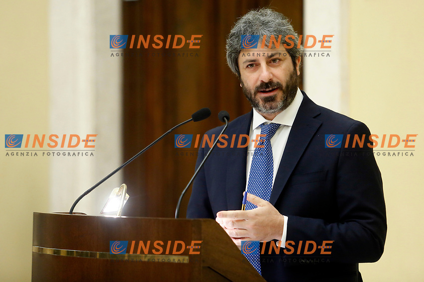 The Italian President of the Chamber of Deputies Roberto Fico<br /> Rome December 19th 2018. Chamber of Deputies, traditional exchange of Christmas wishes with the Parliamentary Press.<br /> Foto Samantha Zucchi Insidefoto