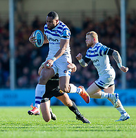 Bath Rugby's Joe Cokanasiga in action during todays match<br /> <br /> Photographer Bob Bradford/CameraSport<br /> <br /> Premiership Rugby Cup - Exeter Chiefs v Bath Rugby - Sunday 24th March 2019 - Sandy Park - Exeter<br /> <br /> World Copyright © 2018 CameraSport. All rights reserved. 43 Linden Ave. Countesthorpe. Leicester. England. LE8 5PG - Tel: +44 (0) 116 277 4147 - admin@camerasport.com - www.camerasport.com
