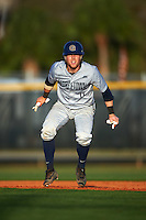 Georgetown Hoyas catcher Richie O'Reilly (11) leads off first base during a game against the Chicago State Cougars on March 3, 2017 at North Charlotte Regional Park in Port Charlotte, Florida.  Georgetown defeated Chicago State 11-0.  (Mike Janes/Four Seam Images)