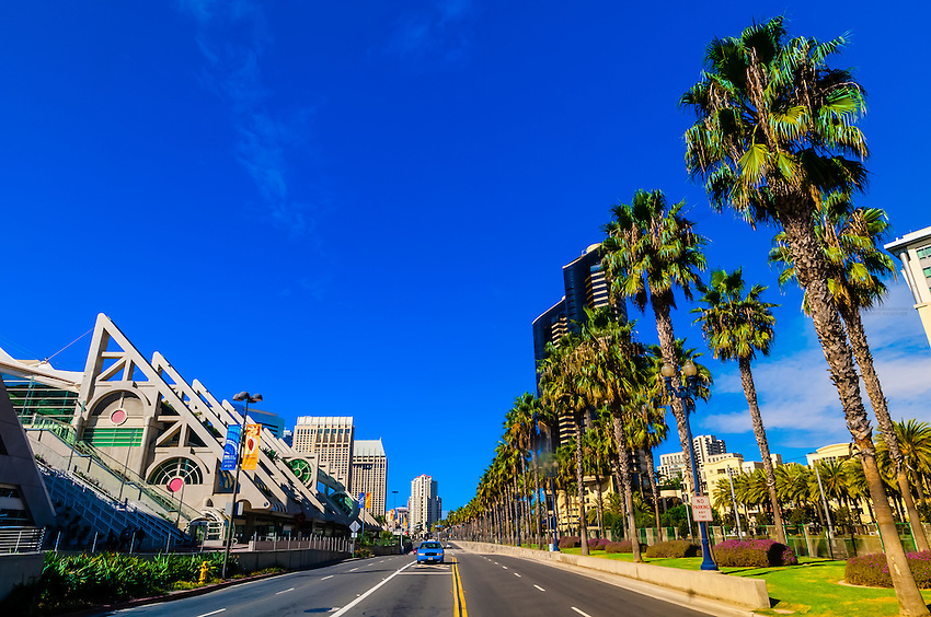 Harbor Drive (San Diego Convention Center on left), San Diego, California USA.