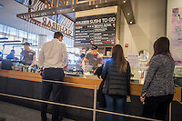 Blue Ribbon Sushi Bar in the Hudson Eats food court in the Brookfield Place mall in New York on Monday, March 30, 2015.  (© Richard B. Levine)