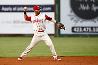 Alex Perez (2) of the Chattanooga Lookouts throws the ball to first base for an out against the Pensacola blue Wahoo on July 27, 2018 at AT&T Field in Chattanooga, Tennessee. (Andy Mitchell/Four Seam Images)
