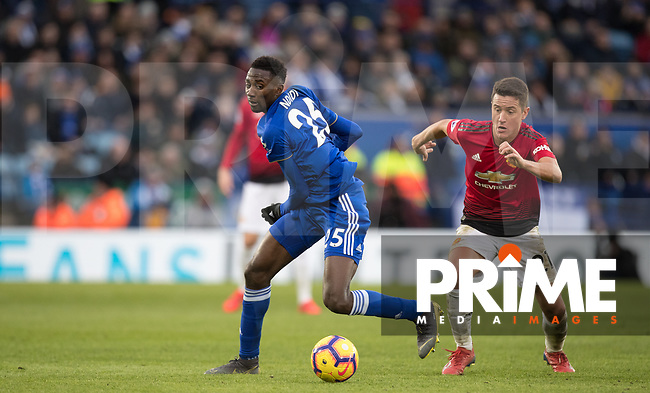 Ander Herrera of Man Utd & Wilfred Ndidi of Leicester City during the Premier League match between Leicester City and Manchester United at the King Power Stadium, Leicester, England on 3 February 2019. Photo by Andy Rowland.