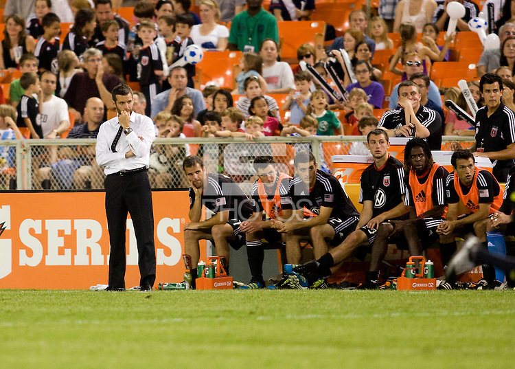 D.C. United head coach Ben Olsen watches the field with his bench during the game at RFK Stadium in Washington, DC.  D.C. United was defeated by the San Jose Earthquakes, 4-2.