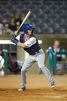 Cal Jones (9) of the Lexington Legends at bat against the West Virginia Power at Appalachian Power Park on June 7, 2018 in Charleston, West Virginia. The Power defeated the Legends 5-1. (Brian Westerholt/Four Seam Images)