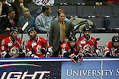 February 22nd 2008:  Head Coach Cory Clouston of the Binghamton Senators watches his team play during a game vs. the Rochester Amerks at Blue Cross Arena at the War Memorial in Rochester, NY.  The Senators defeated the Amerks 4-0.   Photo copyright Mike Janes Photography