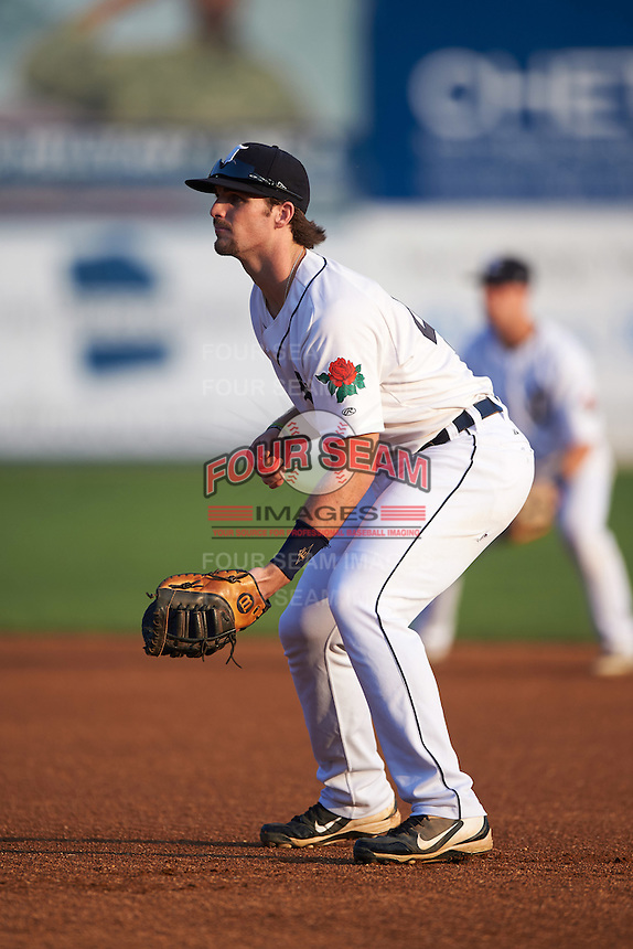 Connecticut Tigers first baseman Will Allen (46) during the first game of a doubleheader against the Brooklyn Cyclones on September 2, 2015 at Senator Thomas J. Dodd Memorial Stadium in Norwich, Connecticut.  Brooklyn defeated Connecticut 7-1.  (Mike Janes/Four Seam Images)